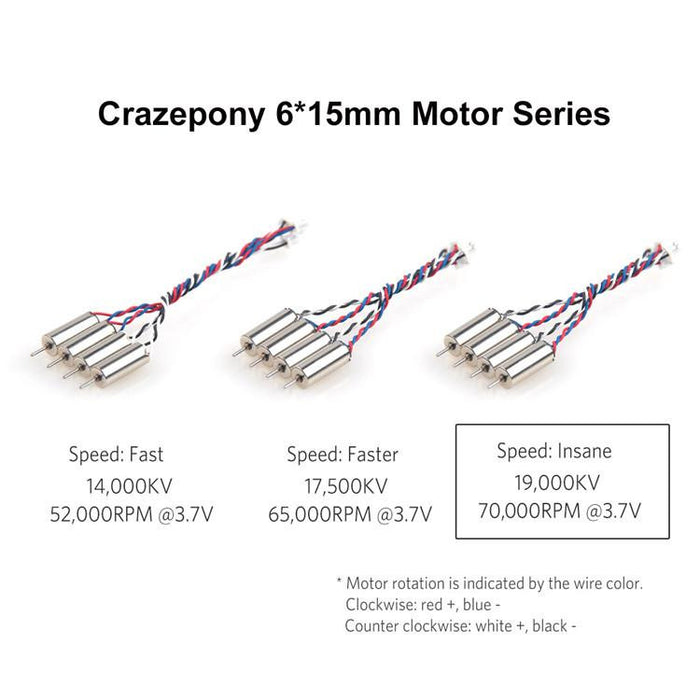 Crazepony 4pcs 6x15mm Motor 19000KV for Blade Inductrix Tiny Whoop Micro JST 1.25 Plug