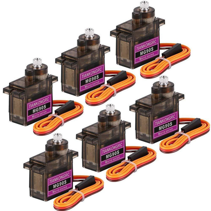 TiankongRC MG90S Metal Gear RC 9g Micro Servo For RC truck, Boat, Racing Car, Helicopter and Airplane (6pcs)