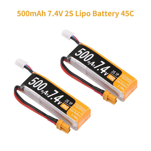 2pcs Crazepony 500mAh 2S LiPo Battery 7.4V 45C with XT30 Plug for Armor 85 HD Cinewhoop