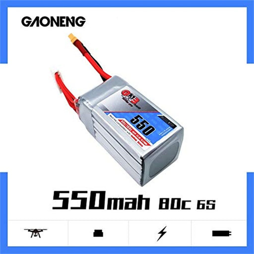 GNB 550mAh 22.2V 80C 6S Lipo Battery with XT60 Plug for FPV Racing Drone RC Quadcopter, etc