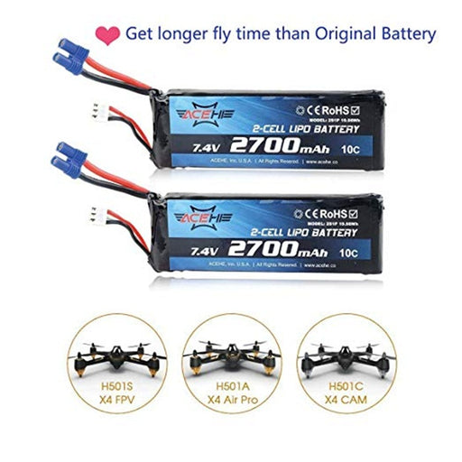 2PCS Hubsan H501S X4 Lipo Battery 2700mAh 7.4V 10C with EC2 Connector for Hubsan H501S X4 RC Drone