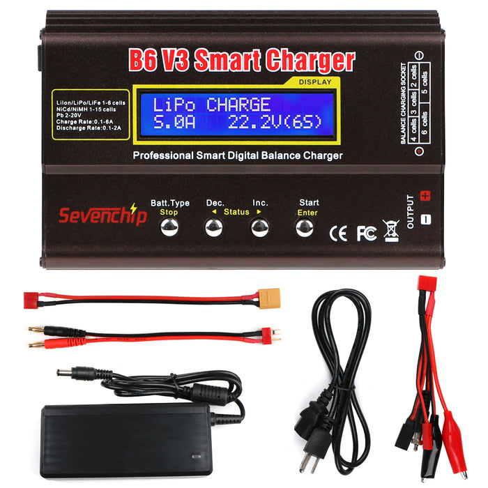 B6 V3 Lipo Battery Charger 80W 6A RC Battery Balance Discharger with AC Power Adapter