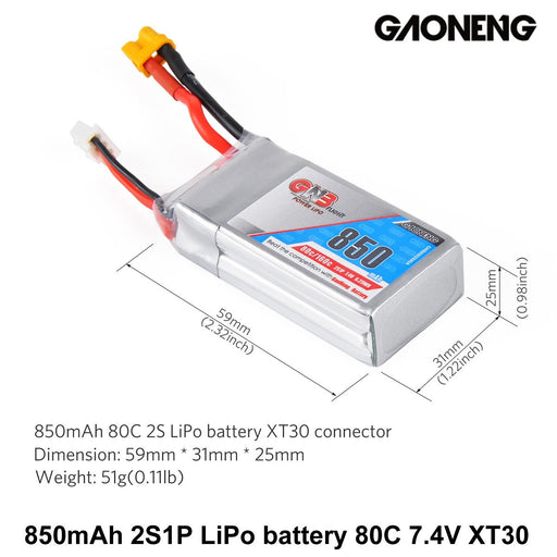 GNB 850mAh LiPo Battery 2S 80C 7.4V XT30 Connector for FPV Racing Drone (2pcs)