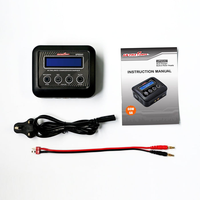Ultra Power UP60AC 60W 6A 2-4S AC Battery Balance Charger Discharger