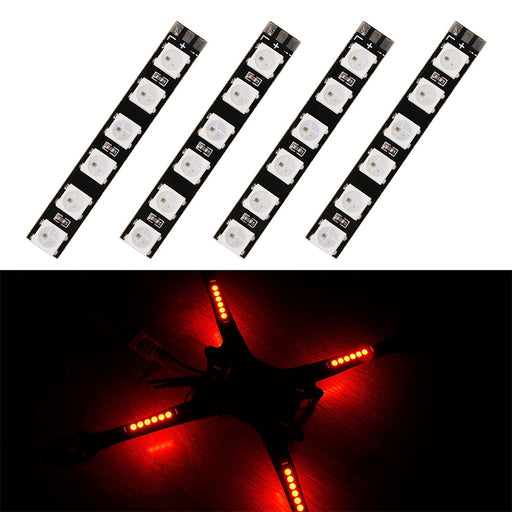 4pcs RGB LED Strip 5V LED Light Board Taillight 7 Colors LED Lamp for RC Drone FPV Racing Quadcopter