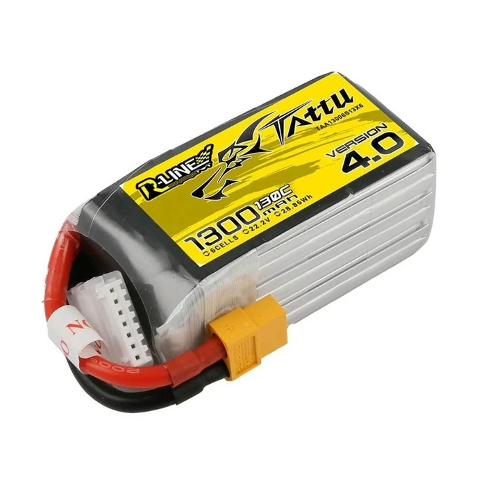 Tattu R-Line Version 4.0 V4 22.2V 1300mAh 130C 6S1P Lipo Battery Pack With XT60 Plug for RC Drone