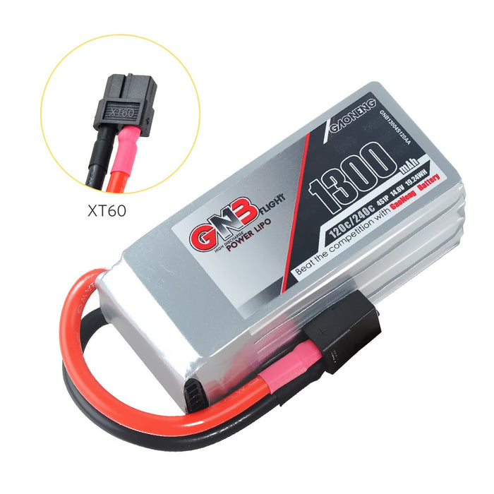 GNB 1300mAh LiPo Battery Pack 4S 14.8V 120C XT60 Plug with Removable Balance Charging Cable