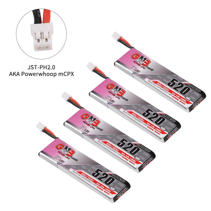 4pcs 520mAh 1S 3.8V LiPo Battery 80C HV LiHv Battery JST-PH 2.0