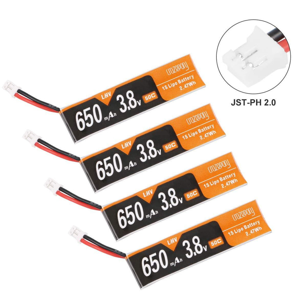 Crazepony 4pcs 650mAh 1S Battery 4.35V HV LiPo Battery JST-PH 2.0