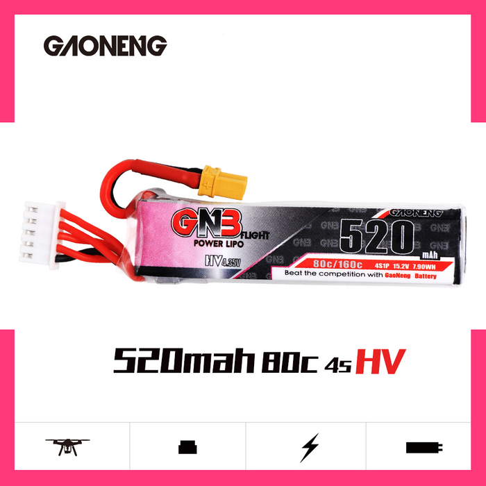 GAONENG GNB 520mAh 4S 15.2V 80C/160C HV Lipo battery with XT30 Plug for Betafpv Beta85X whoop FPV Drone RC Quadcopter parts