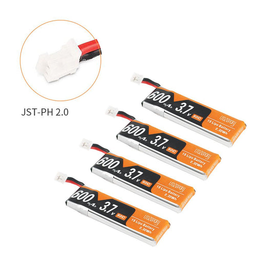 Crazepony 4pcs 600mAh 1S 3.7V LiPo Battery 50C JST-PH 2.0