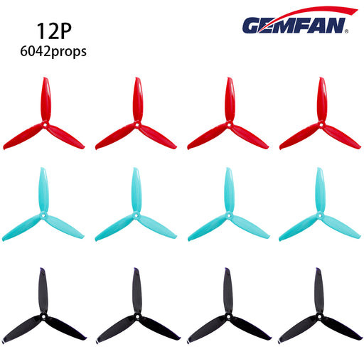 12PCS Gemfan 6042 3-Blade Propellers 6 inch Flash Props CW CCW  for 220 250 280 FPV Racing Drone