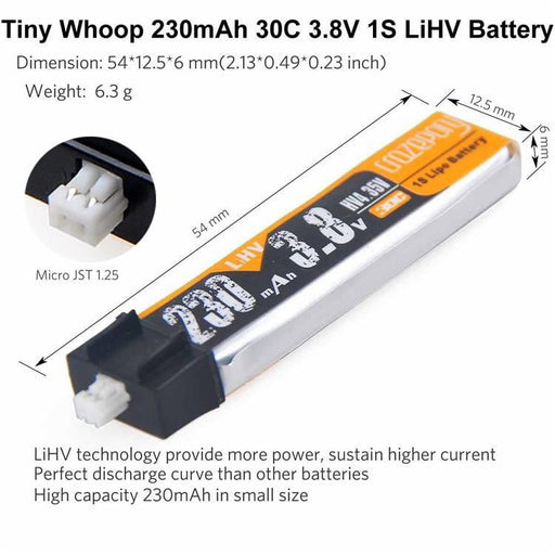 Crazepony 4ps 230mAh HV 1S Lipo Battery 3.8V For Whoop Blade Inductrix Connector