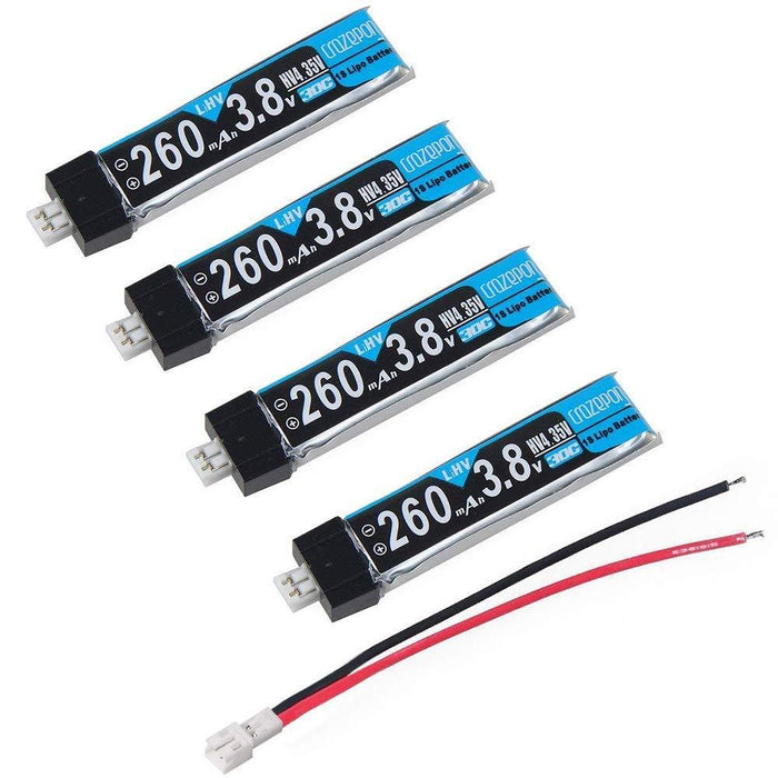 Crazepony 4pcs 260mAh HV LiPo Battery 30C 3.8V for Tiny Whoop JST-PH 2.0 Powerwhoop Connector