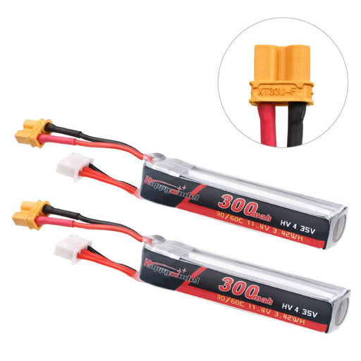 3S 11.4v 300mah LIPO LIHV 30/60C  XT30 connector for Mobula7 HD (2pcs)