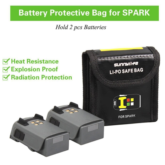2Pcs Lipo Battery Safe Bag for DJI Spark Battery Fireproof Safety Guard Bag Explosion-Proof Safe Bag