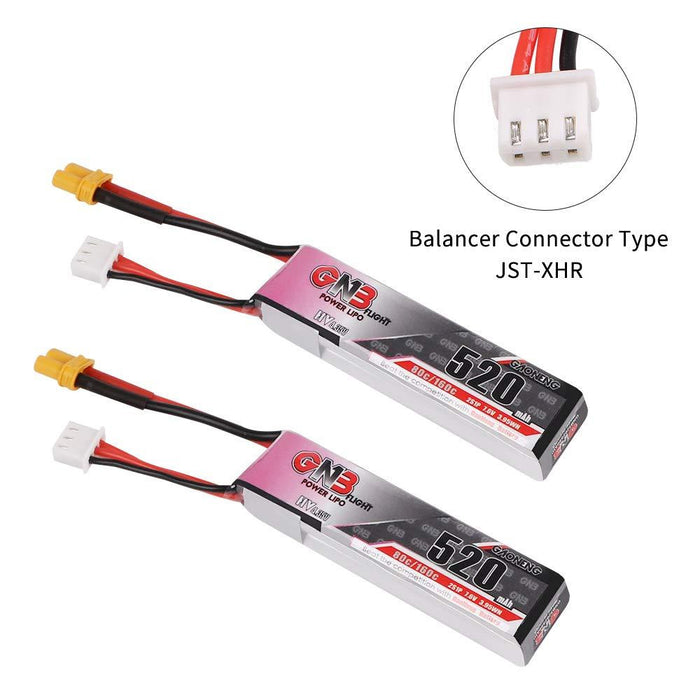 2pcs GNB 520mAh 2S 80C/160C 7.6V LiPo Battery HV 2S LiHv Battery with XT30 Plug