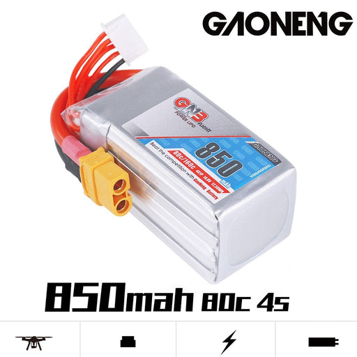 GNB 850mAh LiPo Battery 4S 80C 14.8V XT60 Connector for FPV Racing Drone