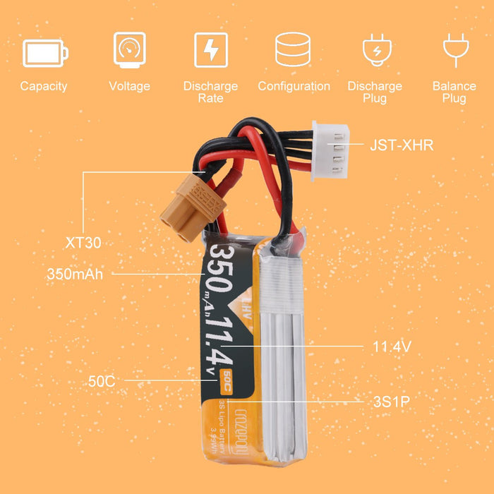 Crazepony 2pcs 350mAh 3S Lipo Battery 50C/100C 11.4V with XT30 Plug for Multirotor FPV Racing Drone