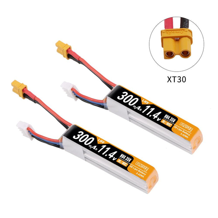 Crazepony 3s 300mAh 11.4v HV 30C/60C LiPo Battery with XT30 Connector (2pcs)