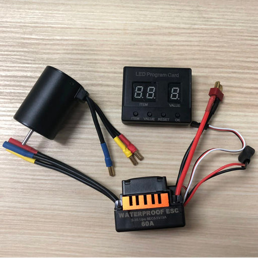 3650 3100KV/3900KV 4P 3.175mm Shaft Brushless Motor Waterproof 60A ESC Combo Set Programming Card