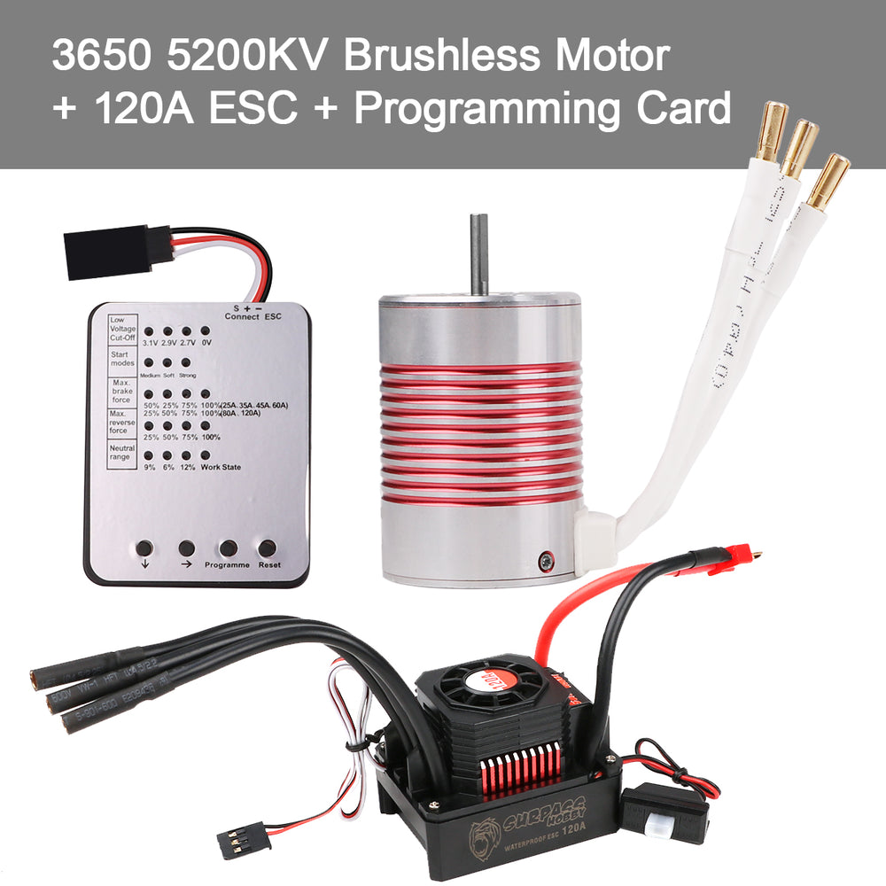 3650 5200KV Sensorless Brushless Motor with 120A ESC Electronic Speed Controller  Programming Card