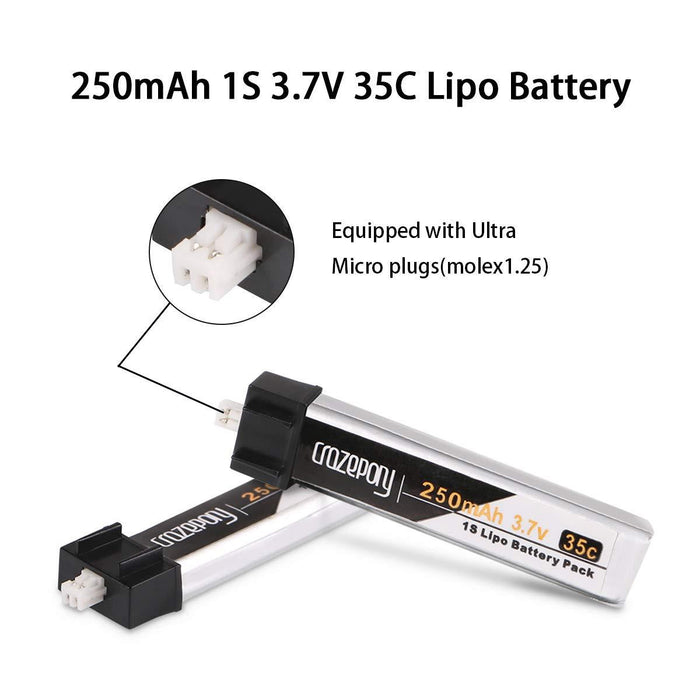 Crazepony 4pcs 250mAh 1S 3.7V 35C Blade Inductrix Lipo Battery