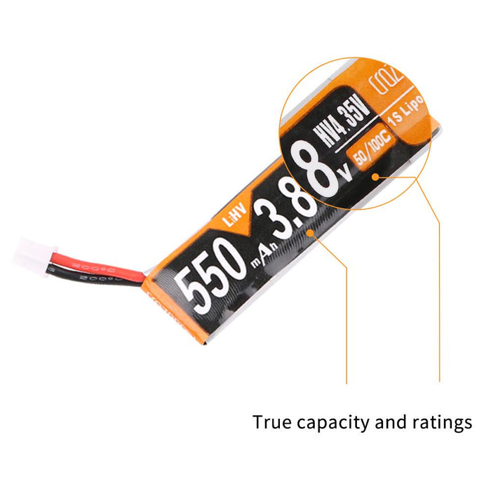 Crazepony Battery 550mah 3.8V 50C HV LiPo PH2.0 25mm Cable (4pcs)