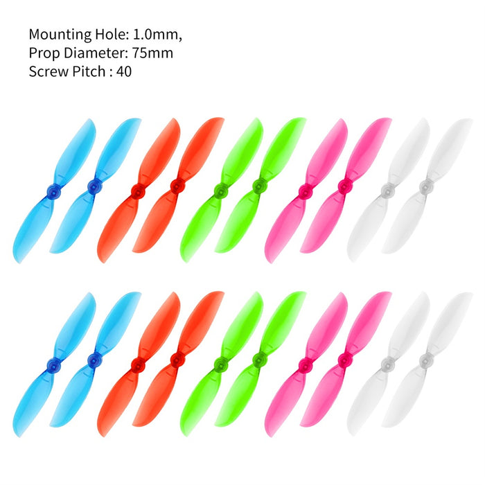 Makerfire 20pcs 75mm Propellers 2-Blade Prop CW CCW Replacement Parts for  DJI Tello FPV RC Drone