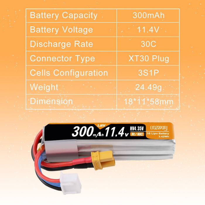 Crazepony 4pcs 300mAh 3S LiPo Battery Pack 30C 11.4V with XT30 Plug RC Battery