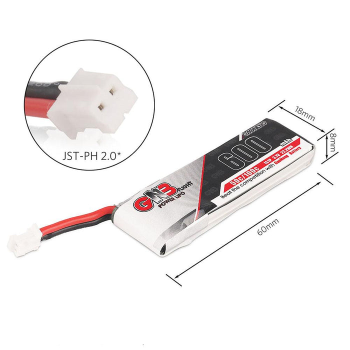 2pcs GNB 600mAh 1S LiPo Battery 3.7V 50C JST-PH 2.0 PowerWhoop mCPX Connector