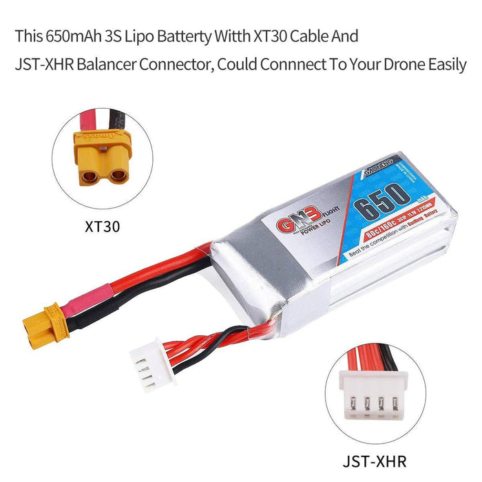 2PCS GNB 650mAh LiPo Battery 3S 11.1V 80C XT30 Plug Connector Rechargeable Battery