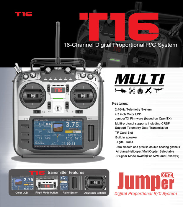 Jumper T16 Open Source Multi-protocol Radio Transmitter JumperTX