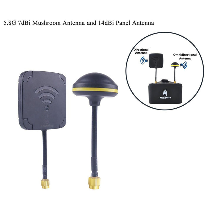 5.8G 7dBi Mushroom Antenna and 14dBi Panel Antenna High Gain FPV Antenna Kit RP-SMA Male for EV800D FPV Goggles Receiver RC Drones Quadcopter etc