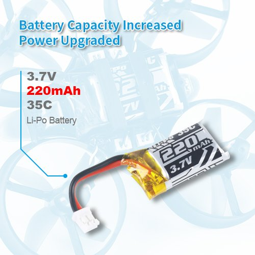 Makerfire 4pcs 1S 3.7V 220mAh LiPo Battery 35C with 6-in-1 Charger and Cable for RC Quadcopter Drone