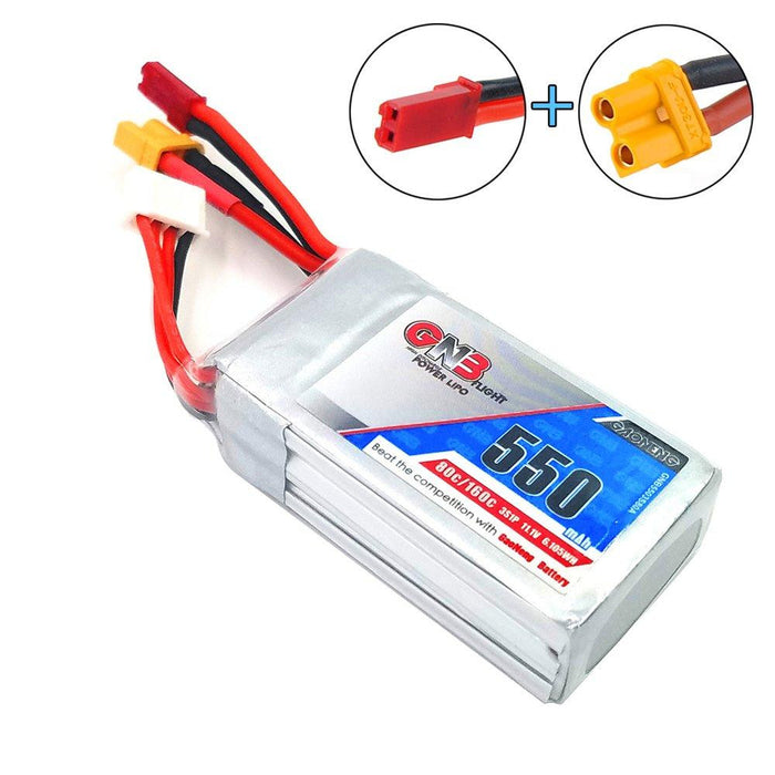 GNB 550mAh LiPo Battery 3S 80C 11.1V XT30 JST Connector for FPV Racing Drone (2pcs)