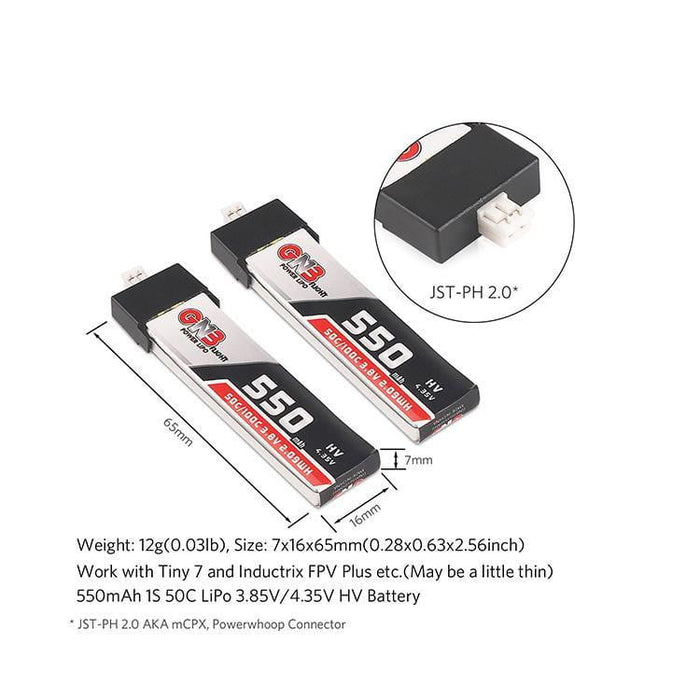 GNB 550mAh 1S  HV 3.8V LiPo Battery 50C JST-PH2.0 (2pcs)