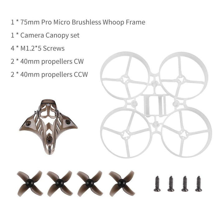 75mm Brushless Whoop Frame with Canopy and 40mm 4-Blade Props Black for Mobula7