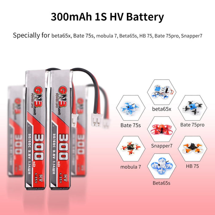 GNB 300mAh HV 1S Lipo Battery FPV Battery 30C 3.8V with JST-PH 2.0 Powerwhoop Connector (Pack of 6)