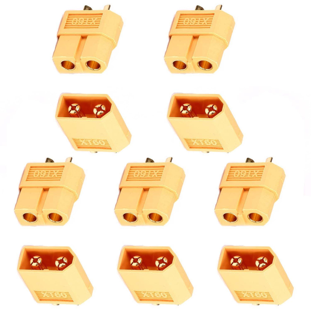 XT60 Connector 5pcs Male and 5pcs Female for RC Battery Toy Vehicle (5 Pairs)