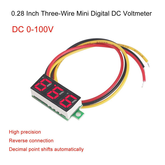 5pcs Mini Digital Voltmeter DC 0.28 Inch Three-Line DC 0-100V