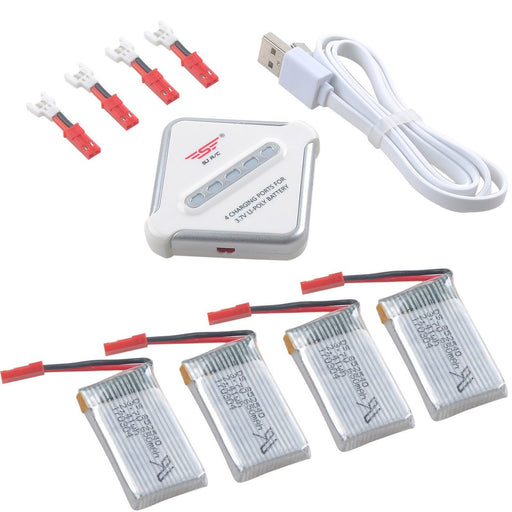 4pcs 650mAh 1S 3.7V 25C Lipo Battery JST Plug and 4 in 1 Multi Battery Charger