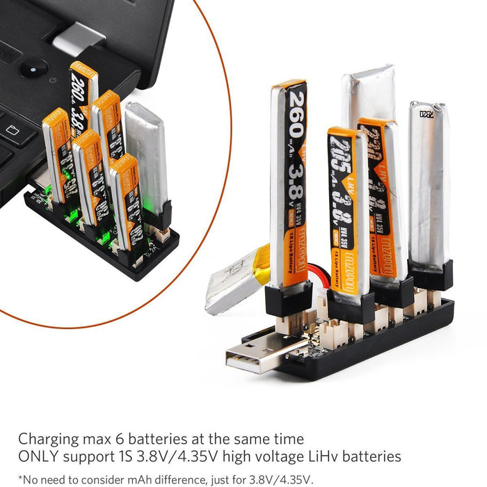 Upgrade 1S LiPo Battery USB 3.8V/4.35V Charger 6 Channel 1S LiHV Charger