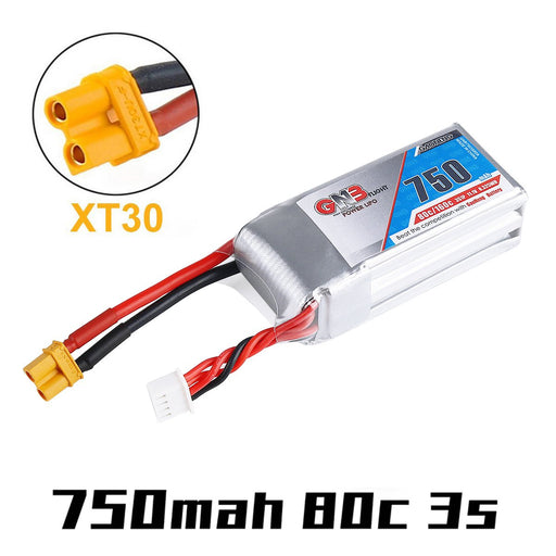 GNB 750mAh LiPo Battery 3S 11.1V 80C XT30 Plug Connector Battery