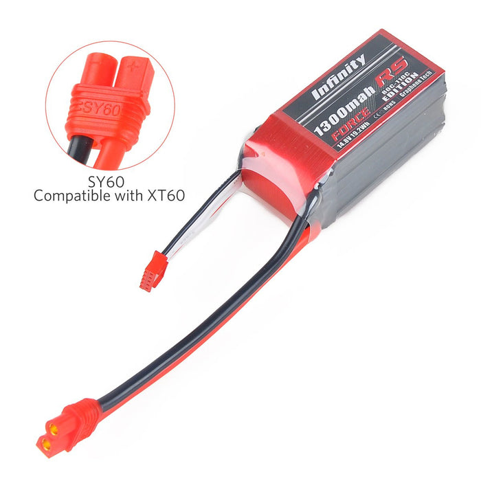 Infinity Graphene 1300mAh LiPo Battery 80-110C 4S 14.8V SY60 Plug for FPV Racing Drone Quadcopter