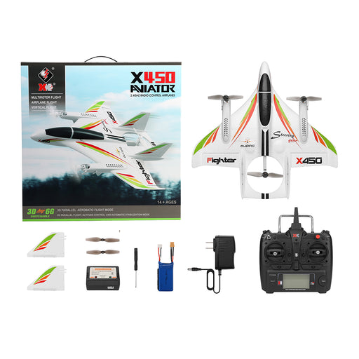 XK X450 RC Airplane 6CH Breshless Motor Multi-function Vertical Takeoff  Landing Stunt RC Drone