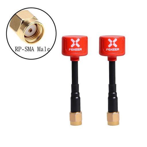 2pcs Foxeer Lollipop FPV Antenna 5.8G 2.3dBi RHCP Super Mini TX RX Antenna RP-SMA Male for RC FPV Drone(Red)