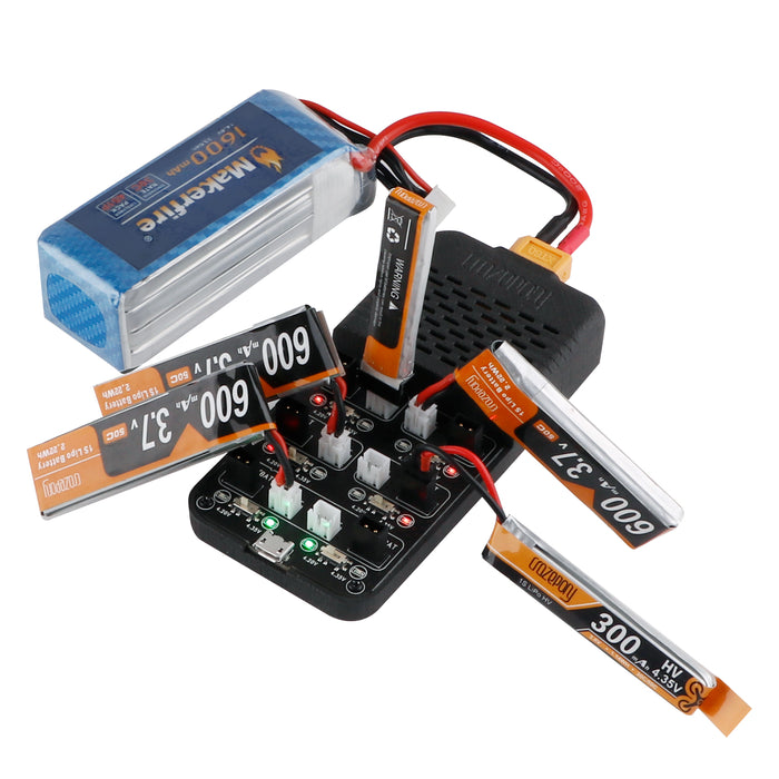 Crazepony 6-Channel 1S LiHv/LiPo Battery Charger with GNB27 and PH2.0 Connector