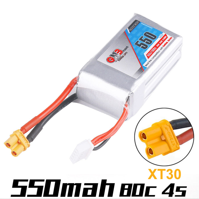 GAONENG 550mAh LiPo Battery 4S 14.8V 80C Rechargeable Battery XT30 Plug Connector for FPV Racing Drone