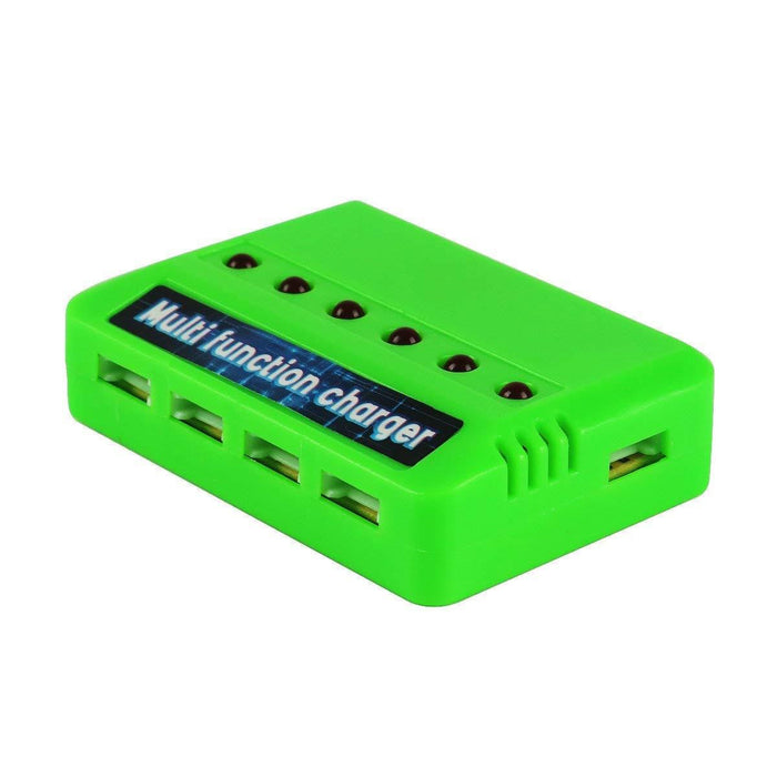 4pcs 1S 3.7V 220mAh LiPo Battery 35C with 6-in-1 Charger and Cable for Armor Blue Shark